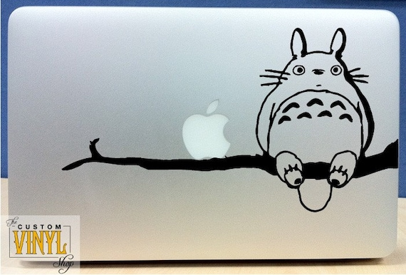 My Neighbor Totoro on branch with his friend Apple  - Vinyl Macbook / Ipad Decal Sticker - Over 30 Color Choices (BUY 2 GET 1 FREE)