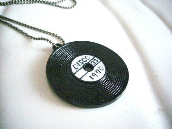 Retro Black Record Disc Pendant Necklace