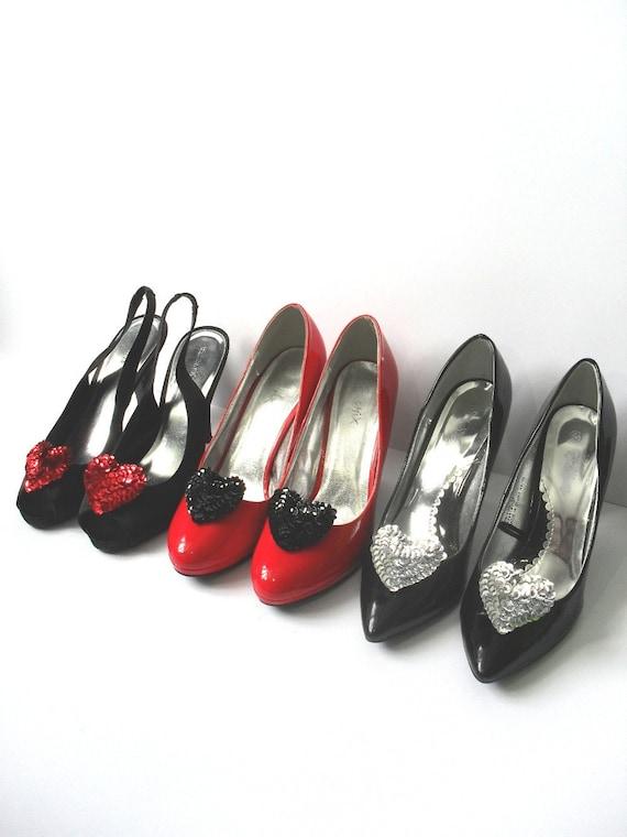 Sequin Heart Shoe Clips