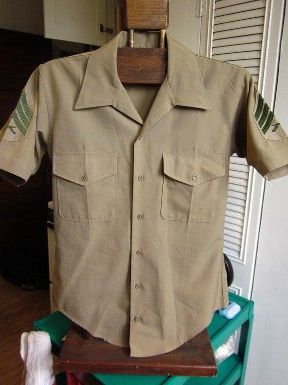 60s Short Sleeve Men's U.S. Marines Khaki Shirt