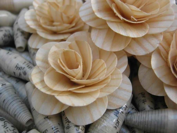 Birch Wood Shavings Crafted Flowers - Natural - Lot of 20 by AccentsandPetals on ETsy