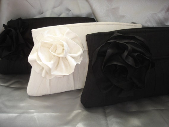 The JJ - Set of 3 Black & White Silk Dupioni Clutches with Removable Flower