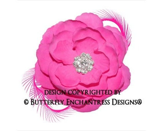 Rhinestone Hot Pink English Rose Flower & Feather Hair Clip