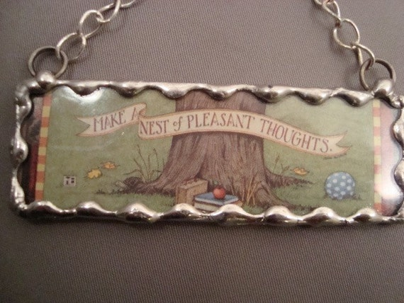 Pleasant Thoughts Soldered Glass Ornament
