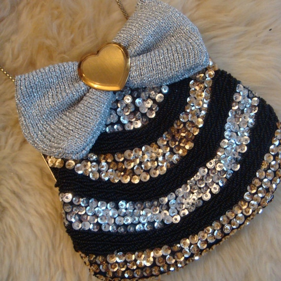 Sequined Bow Purse