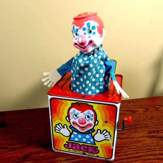 Mattel Pressed Tin Jack in the box, brightly colored and working condition