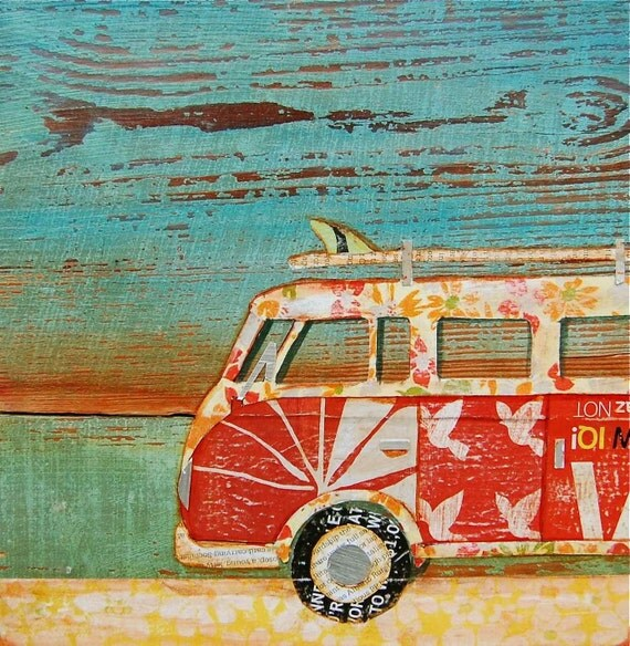 "Volkswagen Vw Van at Beach- ""Santa Cruise"" - Fine Art Print 8x10"