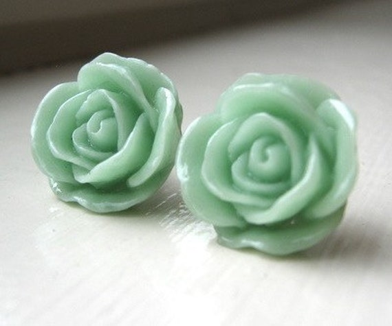 Mint Rosebud Earrings