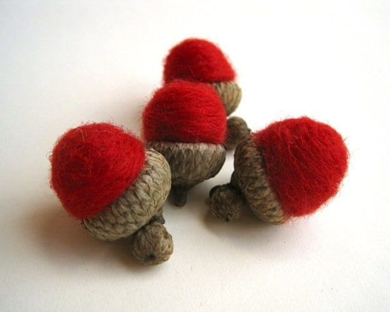 rich red wool acorns set of 12 / natural rustic holiday decor