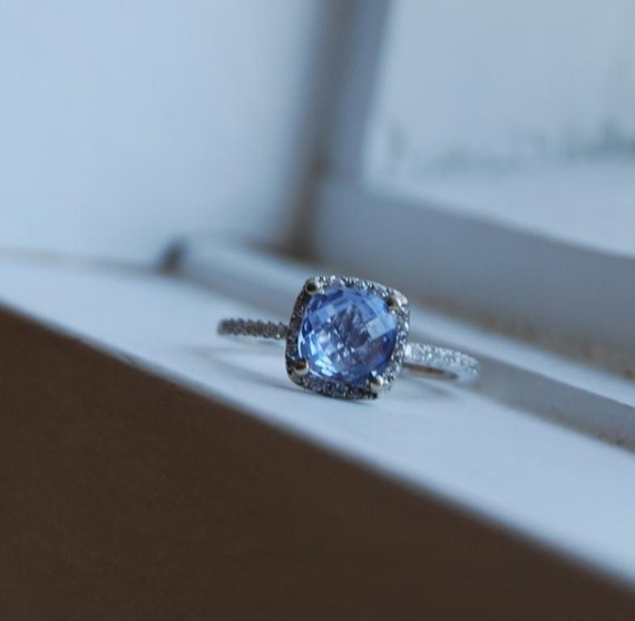 RAIN - Cushion blue sapphire diamond ring-1st payment - reserved
