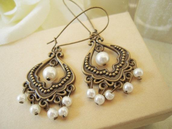 Pearl Dangle Chandelier Earrings-Antique Brass