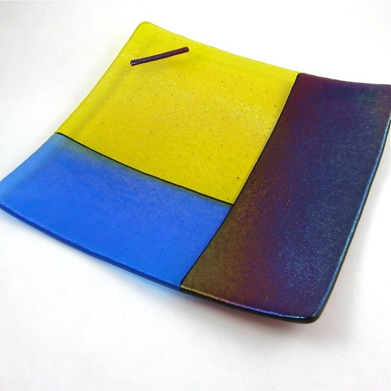 Iridized Fused Glass Serving Plate
