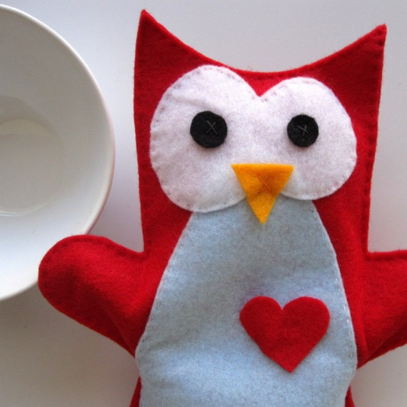 Red Owl Hand puppet Toy Small hand puppet  Ready to by Mariapalito from etsy.com