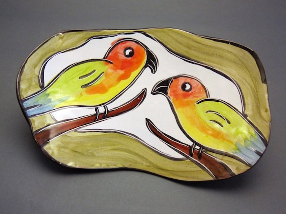 Majolica Earthenware Pottery Clay Love Bird Parrots Yellow Orange Olive Green Wall Hanging Trinket Tray  Clay Lick Creek Pottery