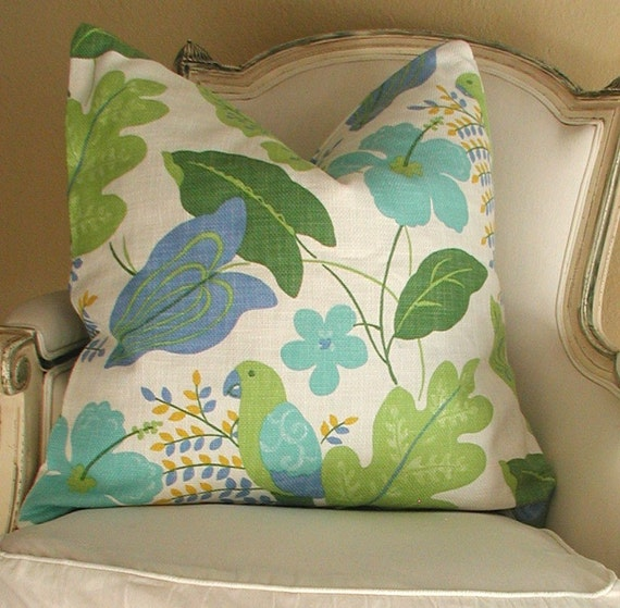 DESIGNER PILLOW 22 inch Modern Floral Leaf Pattern with Birds, Cotton, Greens and Blues