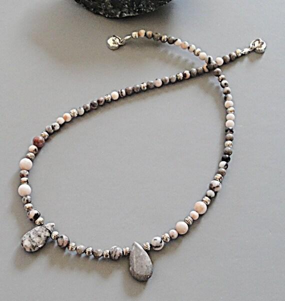 Pink Gray Zebra Jasper Teardrop Necklace