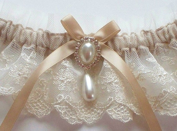 Champagne and Pearls MEREDITH Vintage Appeal Garter in Ivory Net Lace with Satin Ribbon Bow Topped by Pearl and Crystal Detail