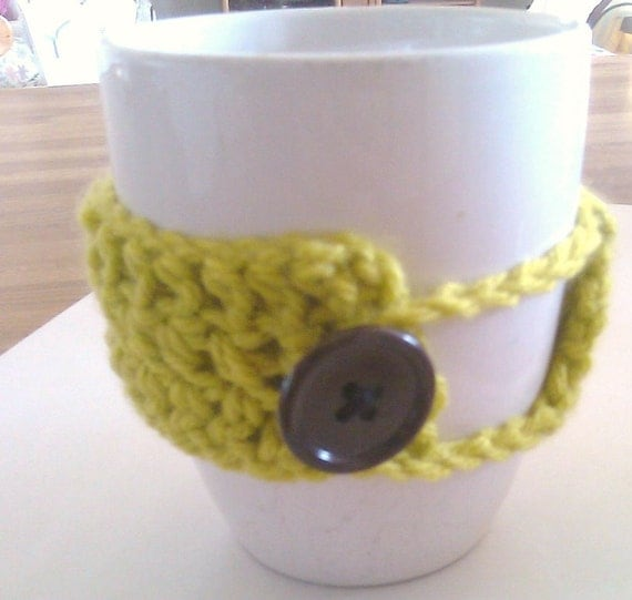 Crochet Coffee Cup Mug Cozy in Grass FREE SHIPPING USA