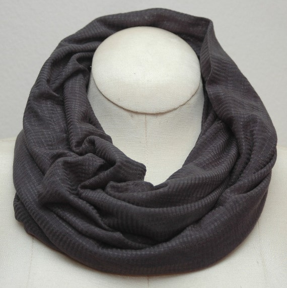 NEW - Textured Grey Rayon Jersey Infinity Scarf