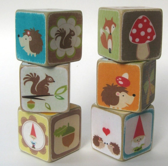 Woodland Creatures Wood Blocks Set of 6