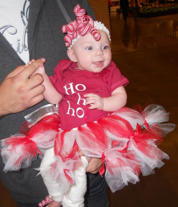 pepermint tutu with ho ho ho onsie  the CUTEST christmas outfit for your little one, tutu, bow, and leggings included customizable