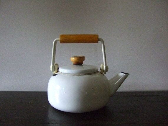 Vintage White Ceramic Tea Kettle
