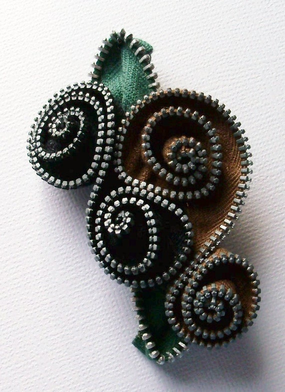 Black and Brown Floral Brooch / Zipper Pin by ZipPinning - 1603