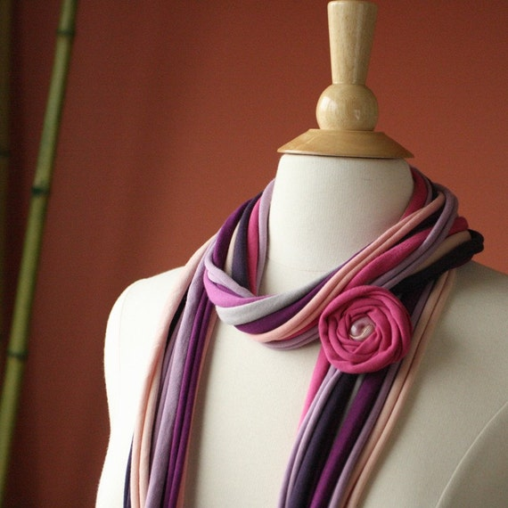 Fabric Scarf Necklace Cowl Accessory with Flower Pin. Pronta Laila. Fuchsia Violet Pink Lavender Plum