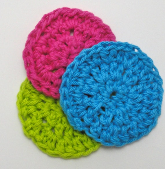 Facial Scrubbie Cotton Blue Pink Green Washcloth Dishcloth Pick Your Color Set (3)