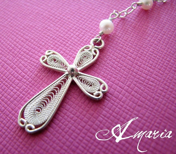 Filigree cross pearl necklace by amaria on Etsy from etsy.com