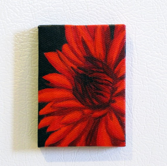 Red Dahlia Mini Painting Refrigerator Art Magnet