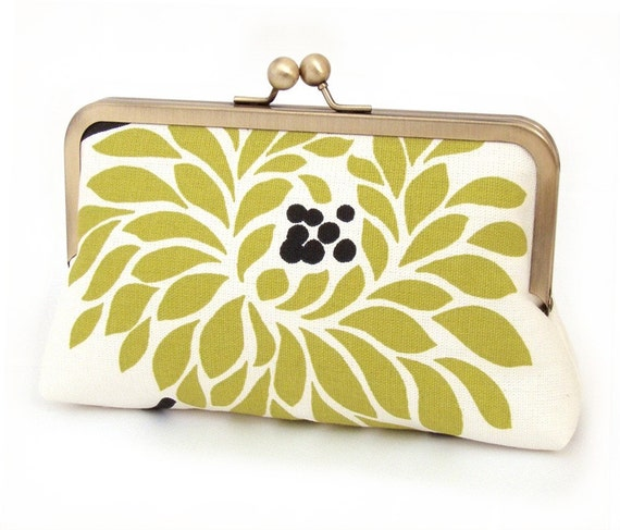 chartreuse chrysanthemum silk lined clutch purse bag