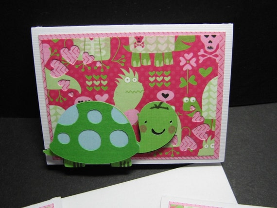 Turtle Love, set of 6 mini note cards