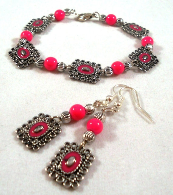 Pewter Frame Hot Pink Bracelet Set by allurejewelsbycc on Etsy from etsy.com