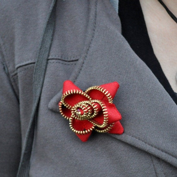 Red Zipper Flower Brooch by Too Much of a Good Thing on Etsy