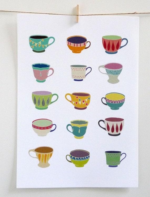 Teacups - A4 print