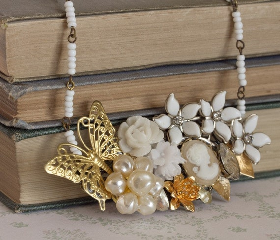 White Wedding - Vintage Collage Necklace