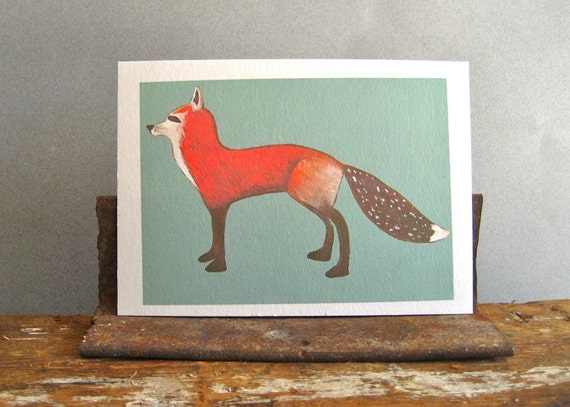 Red Fox with Teal Background 5x7 giclee art print woodland forest nature red brown black red tile studio