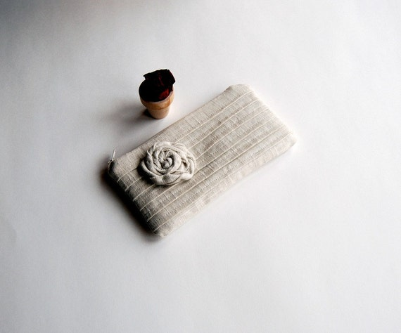 On Sale 15% OFF-Romantic Rose pleats in white-creme natural zippered pouch, purse, clutch by Lolos
