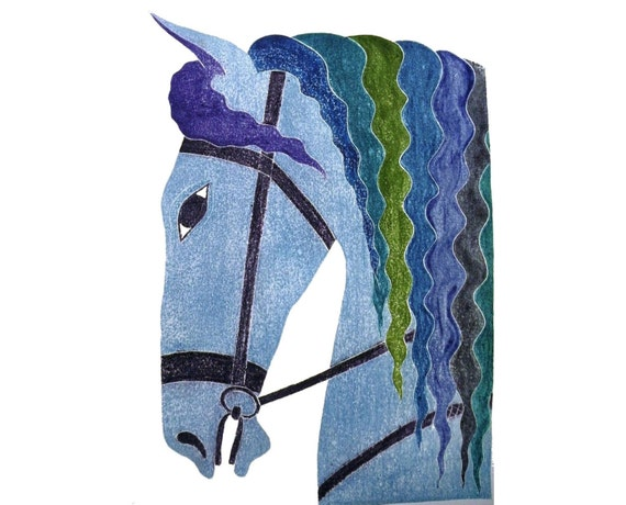 Blue Horse white line woodblock print