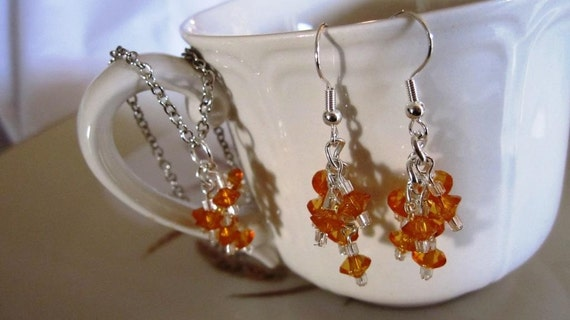Orange cluster earring and choker set