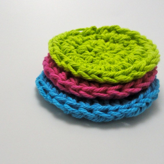 Cotton Facial Scrubbie Washcloth Dishcloth Set (3) Pink Green Blue