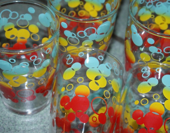 Vintage Tiny Bubbles Juice Glasses Set of 7