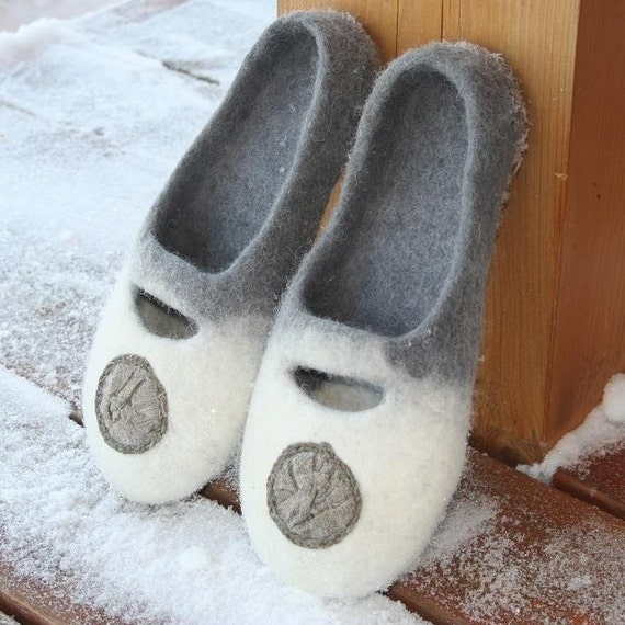 Gray White Eco felted Slippers Handmade
