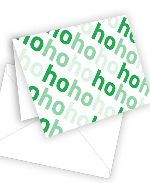 Typographic Holiday Card  Ho Ho Ho by theRasilisk on Etsy from etsy.com