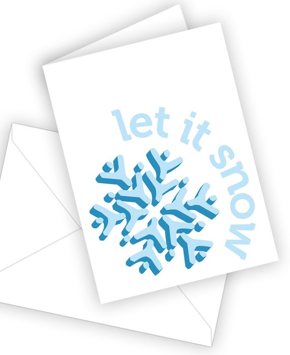 Free US Shipping  Let it Snow Holiday Card  10 pack by theRasilisk from etsy.com
