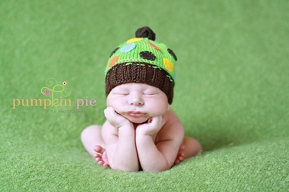 HANDSOME  AND GREEN Cupcake Hat-Newborn Size- Made to order only