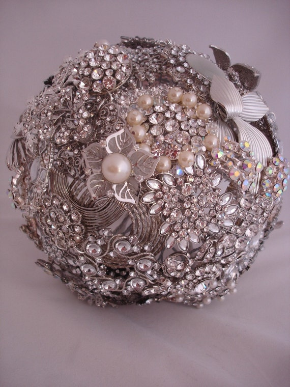 Letters4lilly Silver and Pearl Wedding Brooch Bouquet OOAK