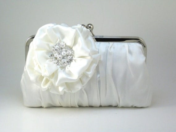 Ivory Polished Pleats Clutch Purse - Pearls and Gems