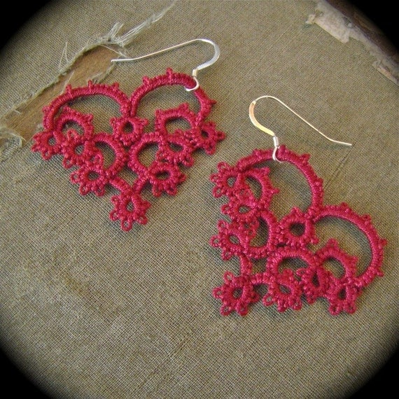 With All My Heart - Tatted Lace Earrings - Burgundy